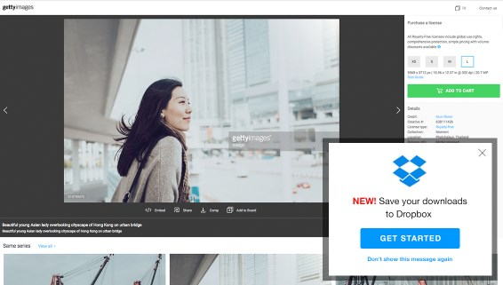 Getty Images integratie voor Dropbox